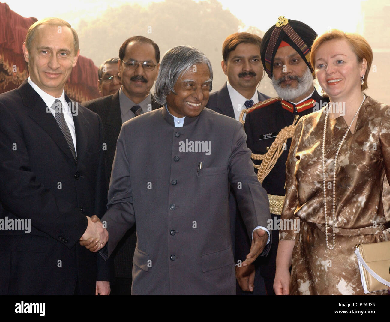 President of Russia Vladimir Putin on an official visit in India - Stock Image