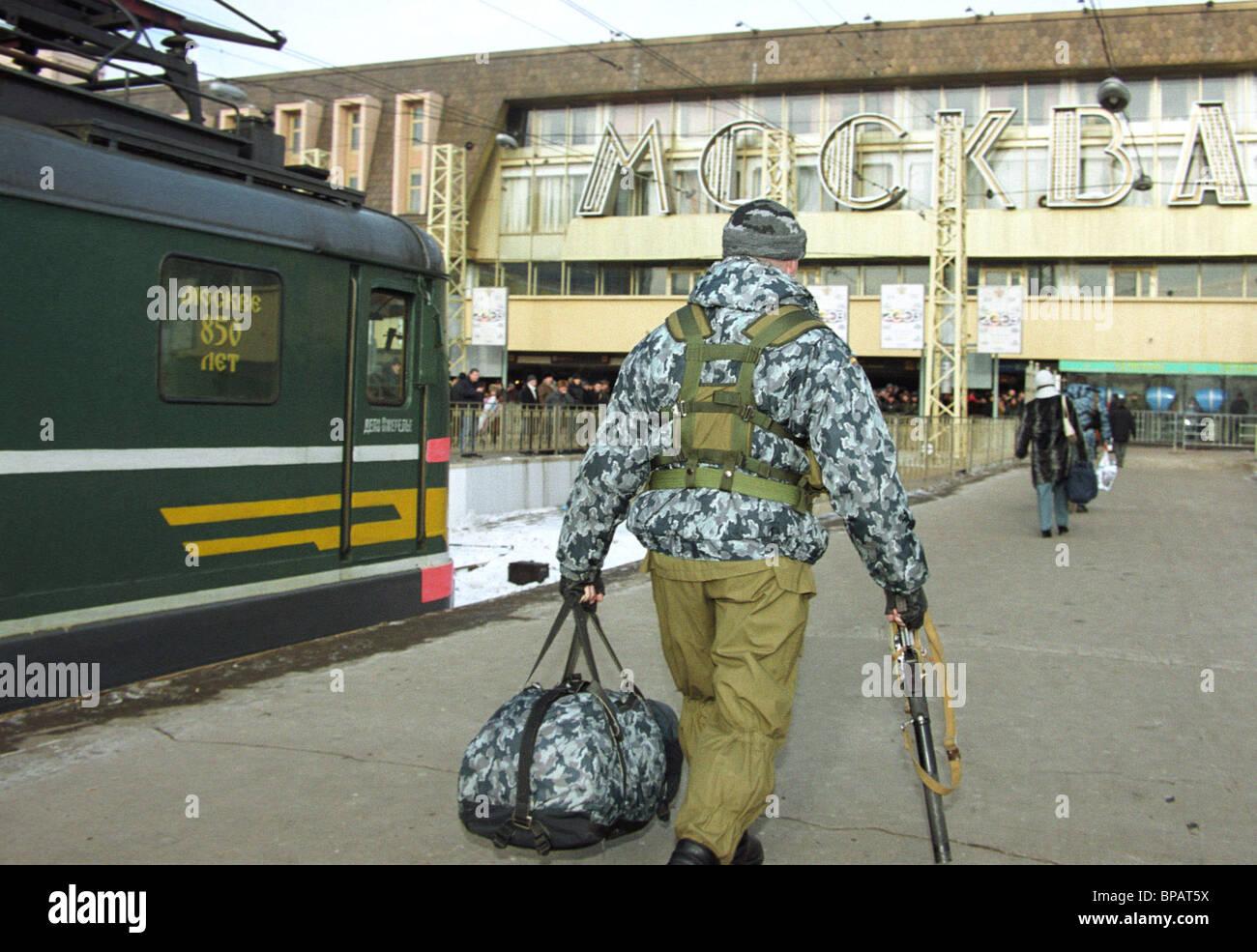 Return of militia detachment from Chechnya - Stock Image