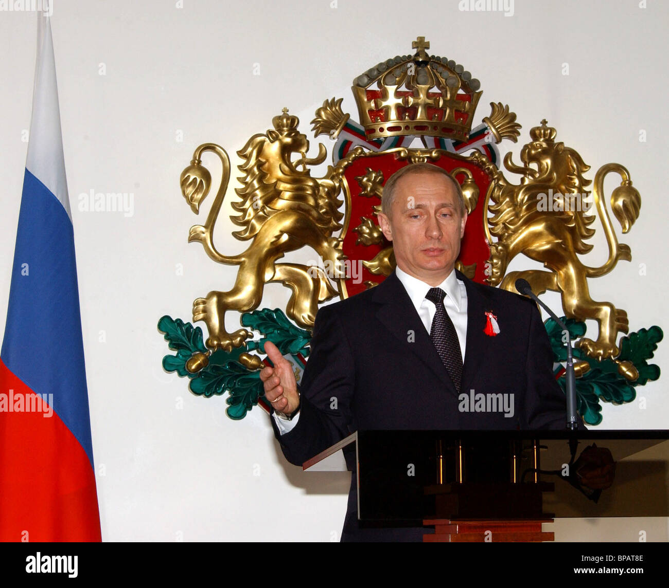 Putin gives press conference in Sofia - Stock Image