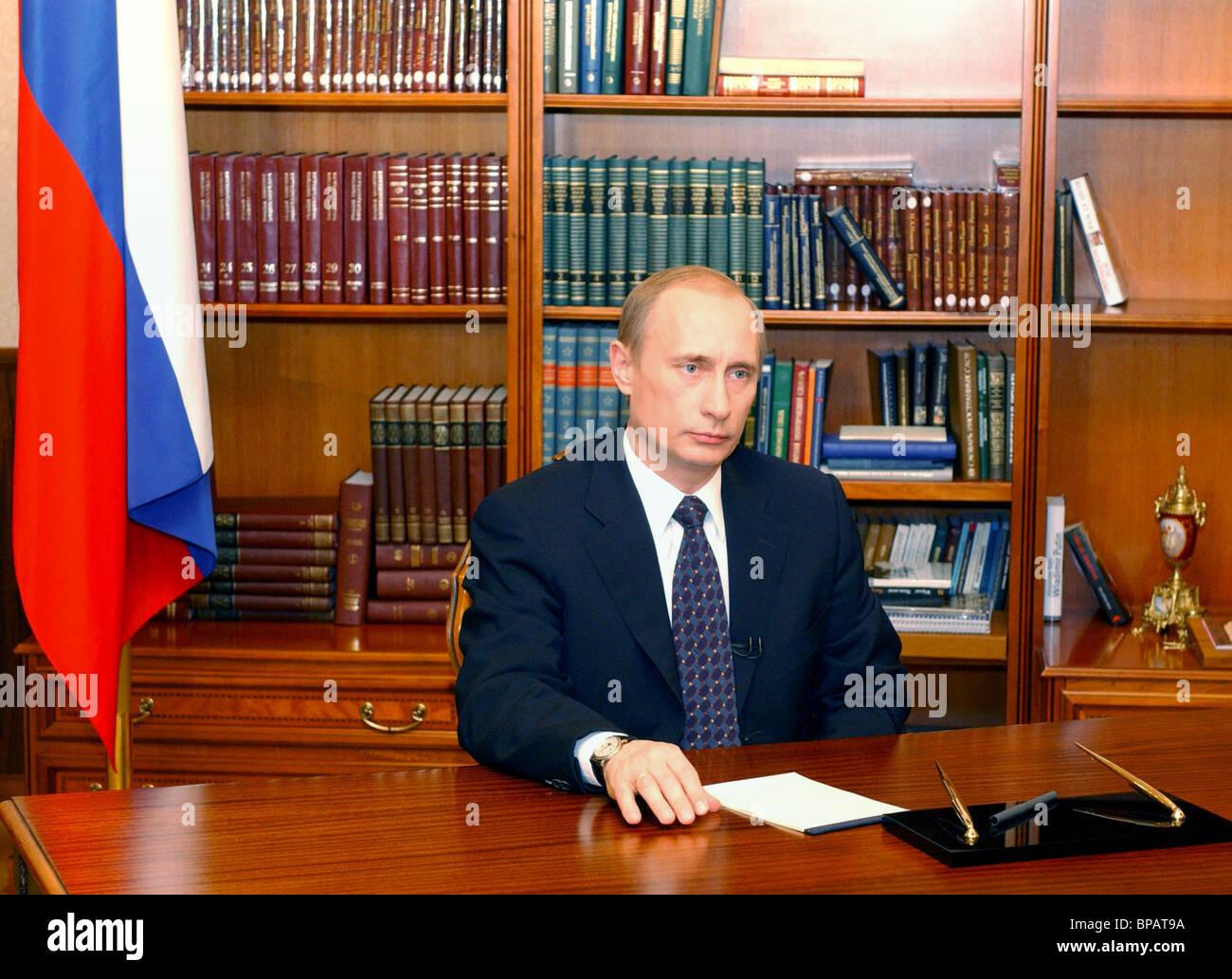 TV address of President Vladimir Putin to population of Chechnya - Stock Image