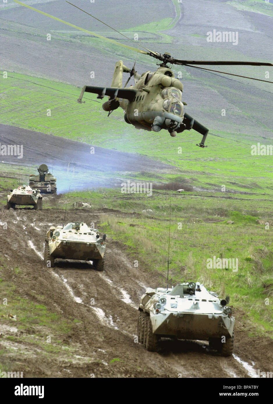 Tactical exercises of Russian battalion of collective fast reaction forces - Stock Image