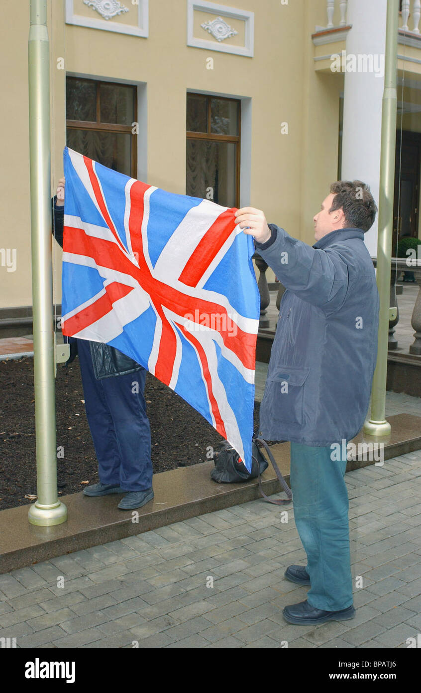 Preparations for Tony Blair's visit to Russia - Stock Image