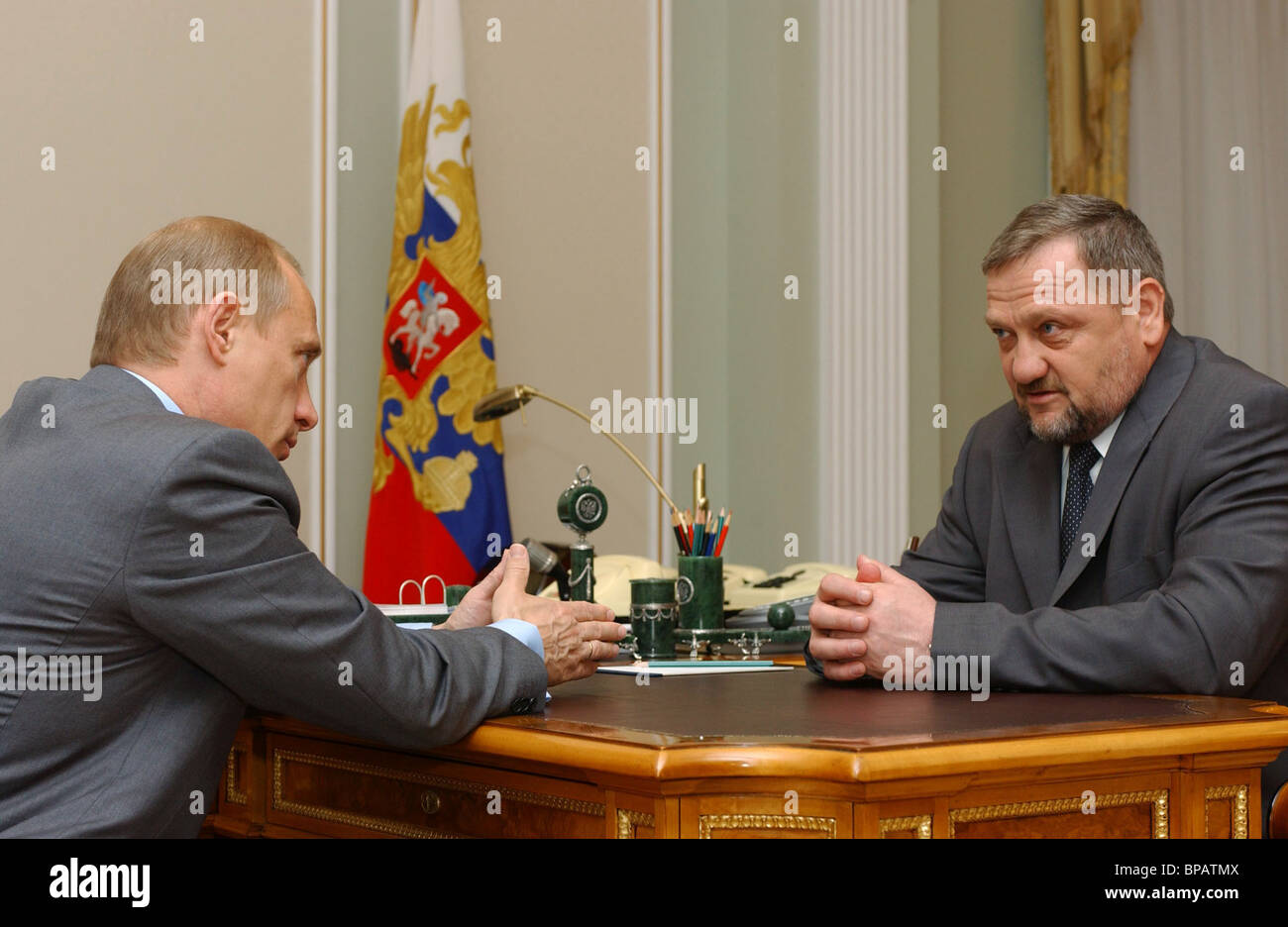 Meeting of President Vladimir Putin with head of the administration of the Chechen Republic Akhmat Kadyrov - Stock Image