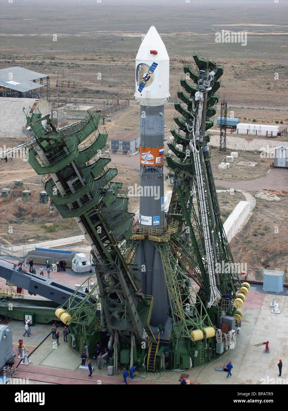 The Soyuz-FG carrier rocket with a Mars-Express interplanetary station was installed at a launch site at Baikonur - Stock Image