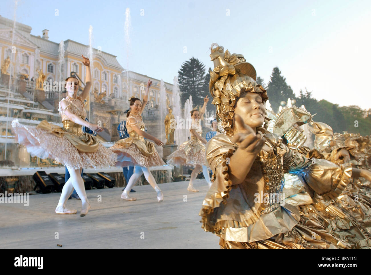 Enchanting Spectacle of Peterhof Fountains - Stock Image