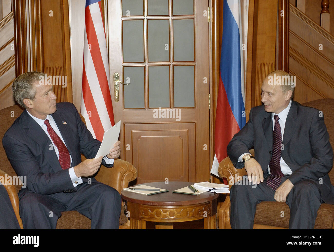 Presidents of Russia and the USA hold talks - Stock Image