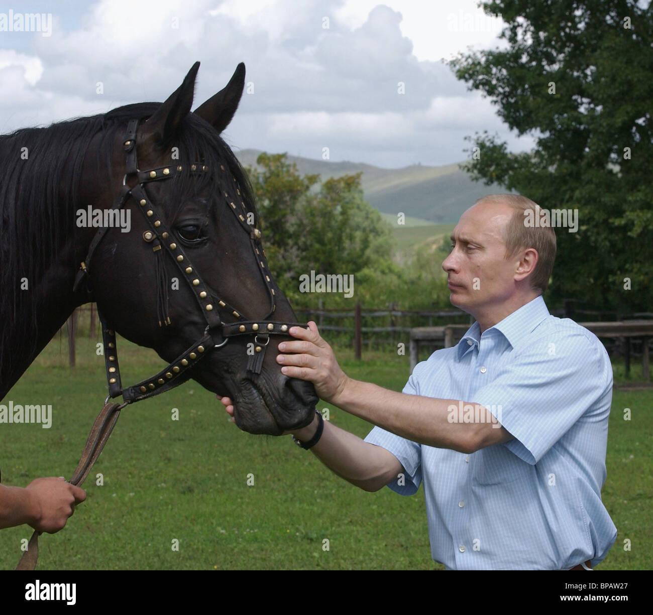 President Vladimir Putin at leisure in the Altai Territory. August 23, 2003. - Stock Image
