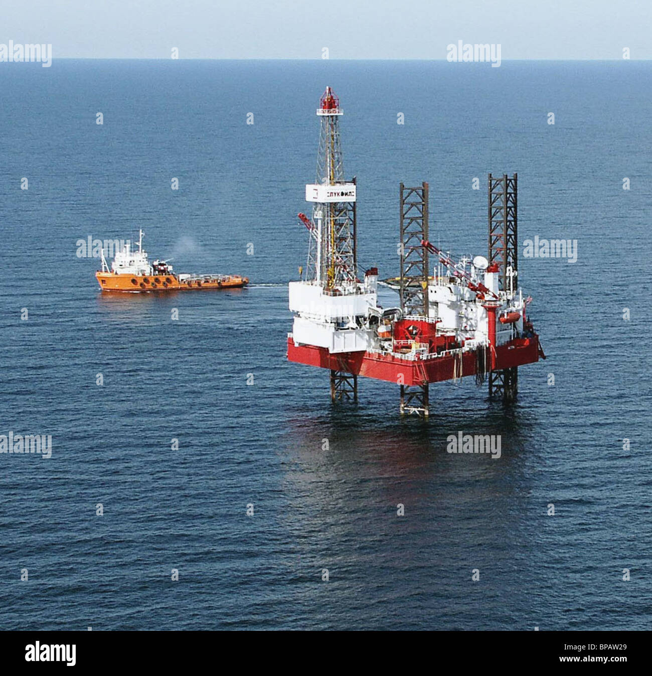 Astra oil rig functiones in the Caspian Sea - Stock Image