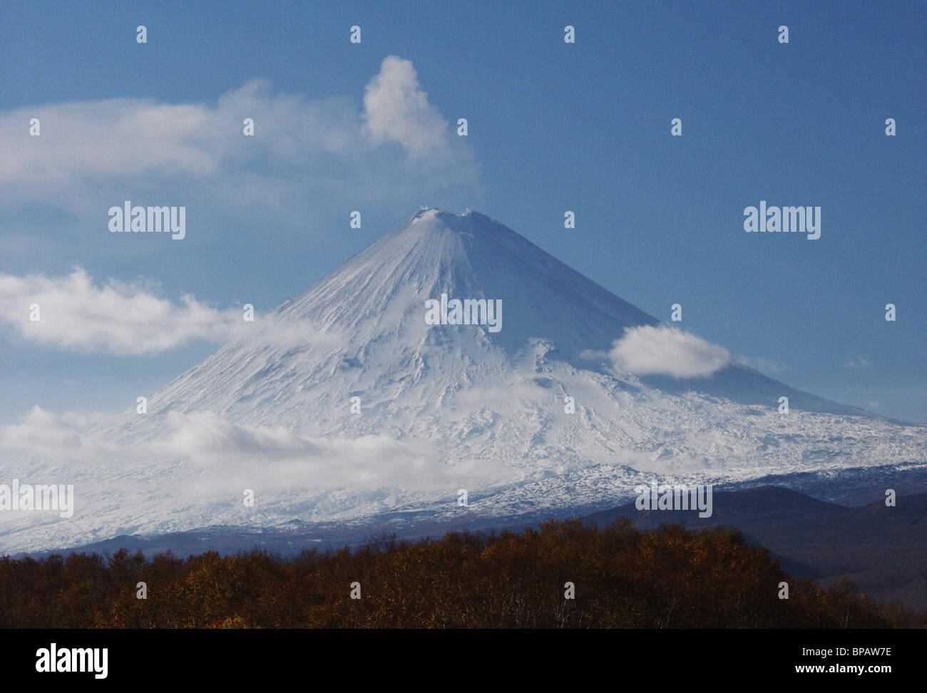 Klyuchevskaya Sopka Volcano in Kamchatka active again - Stock Image