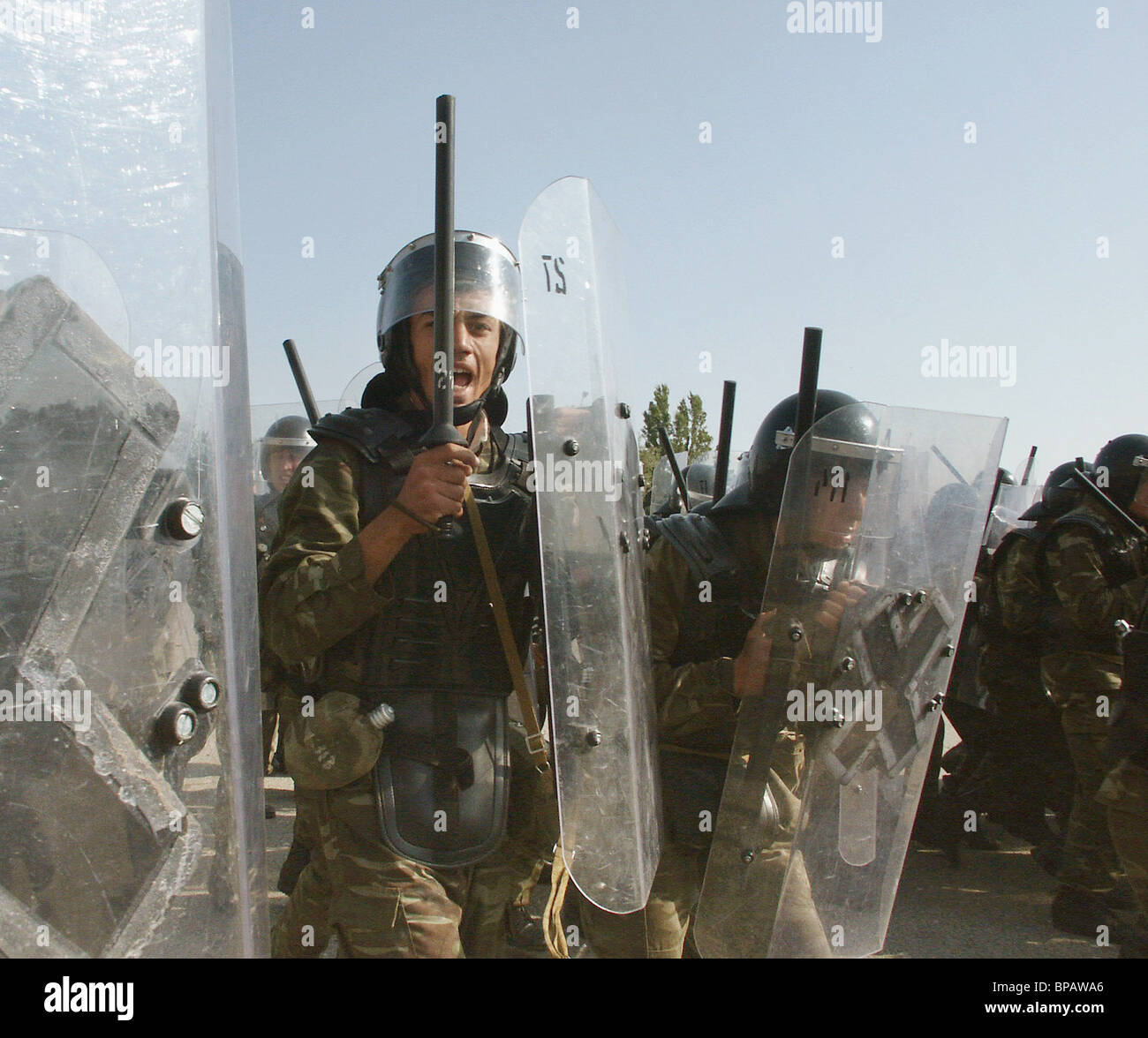 Post-election clashes of opposition and law enforcement bodies in Baku - Stock Image