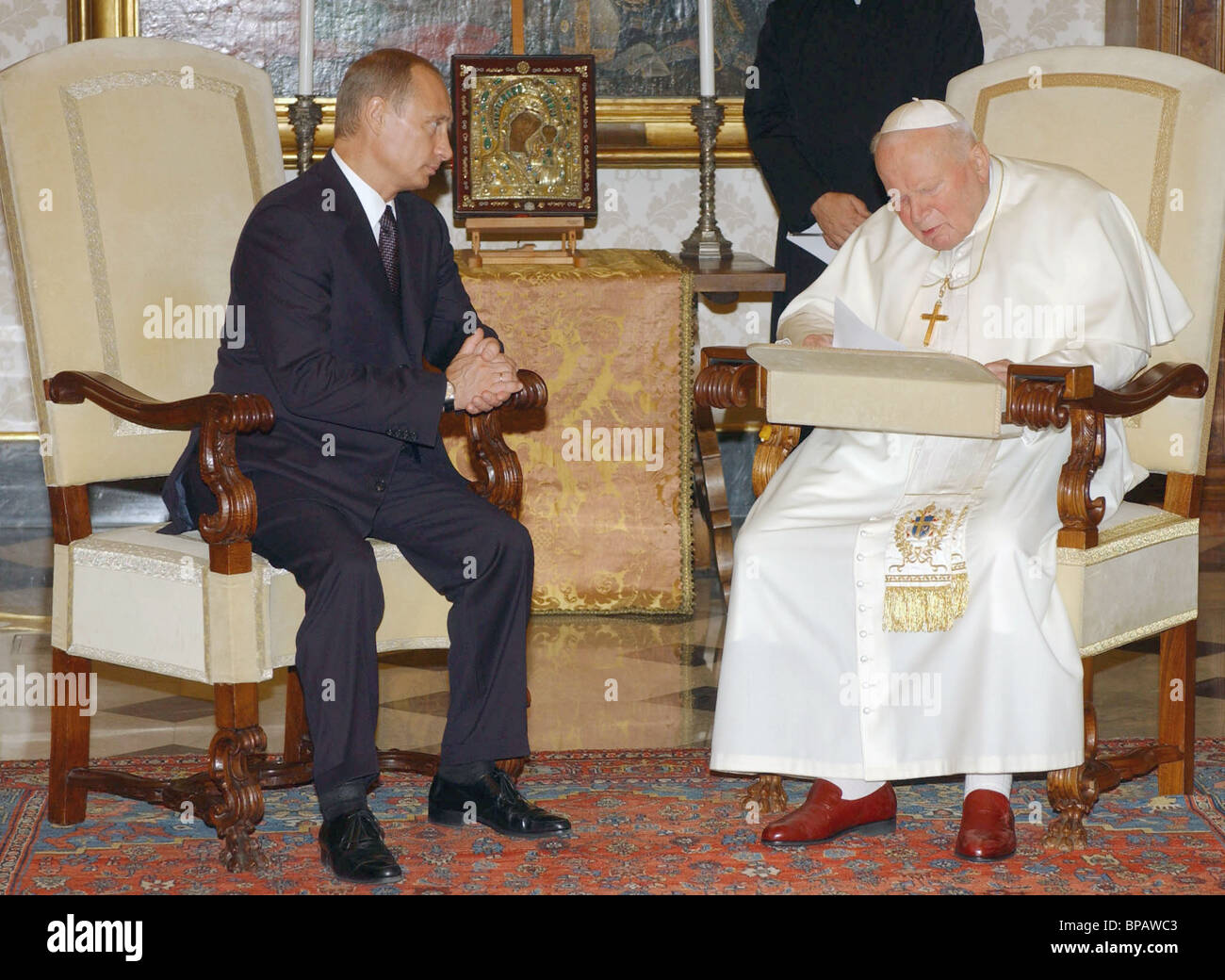 Meeting of President of Russia Vladimir Putin with Pope John Paul II - Stock Image