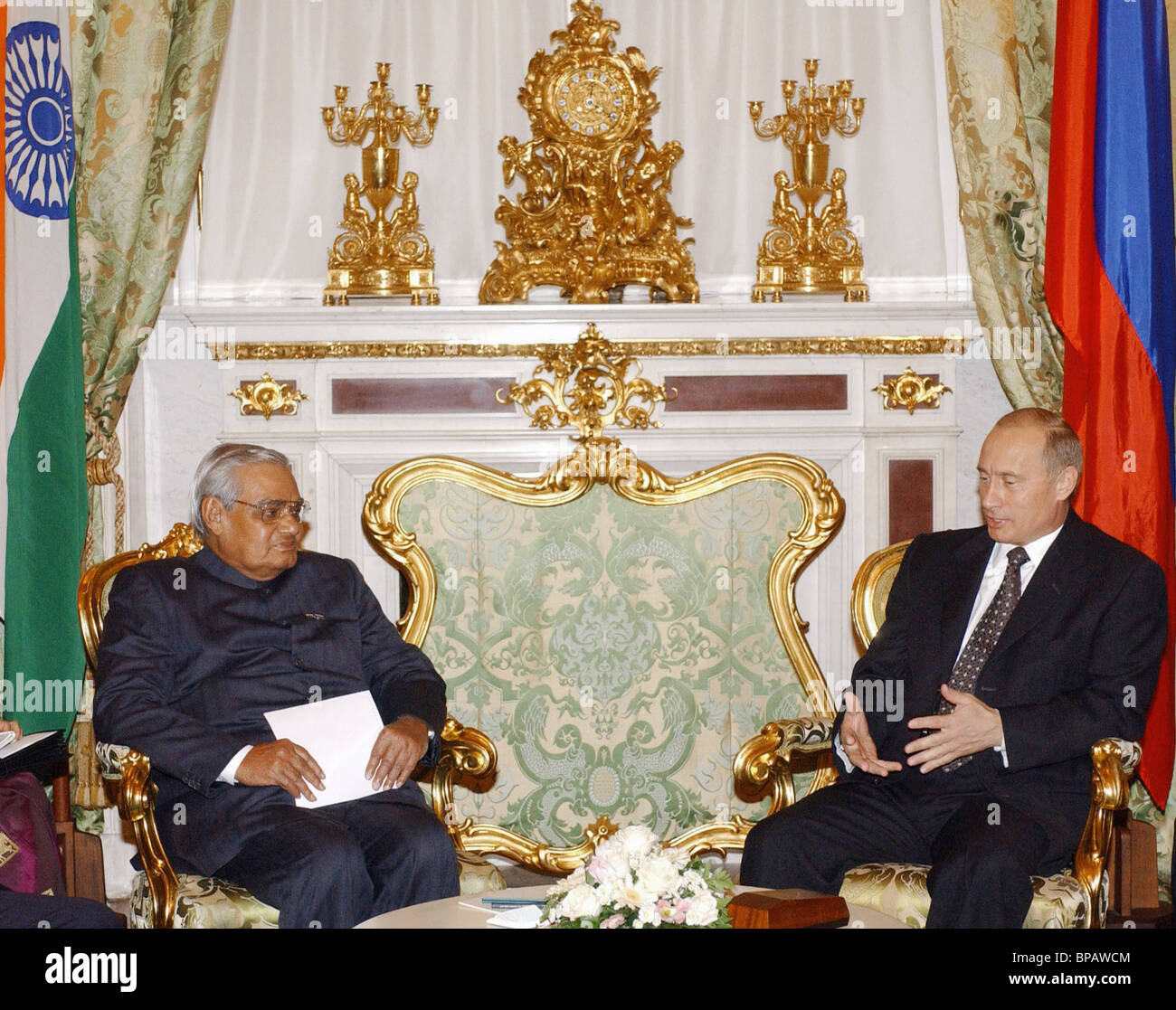 Meeting of Russian President with Indian Prime Minister - Stock Image