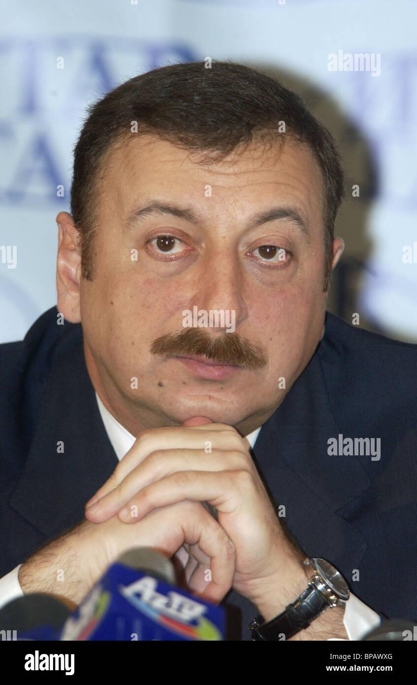 President of Azerbaijan Ilham Aliyev at ITAR-TASS news agency - Stock Image