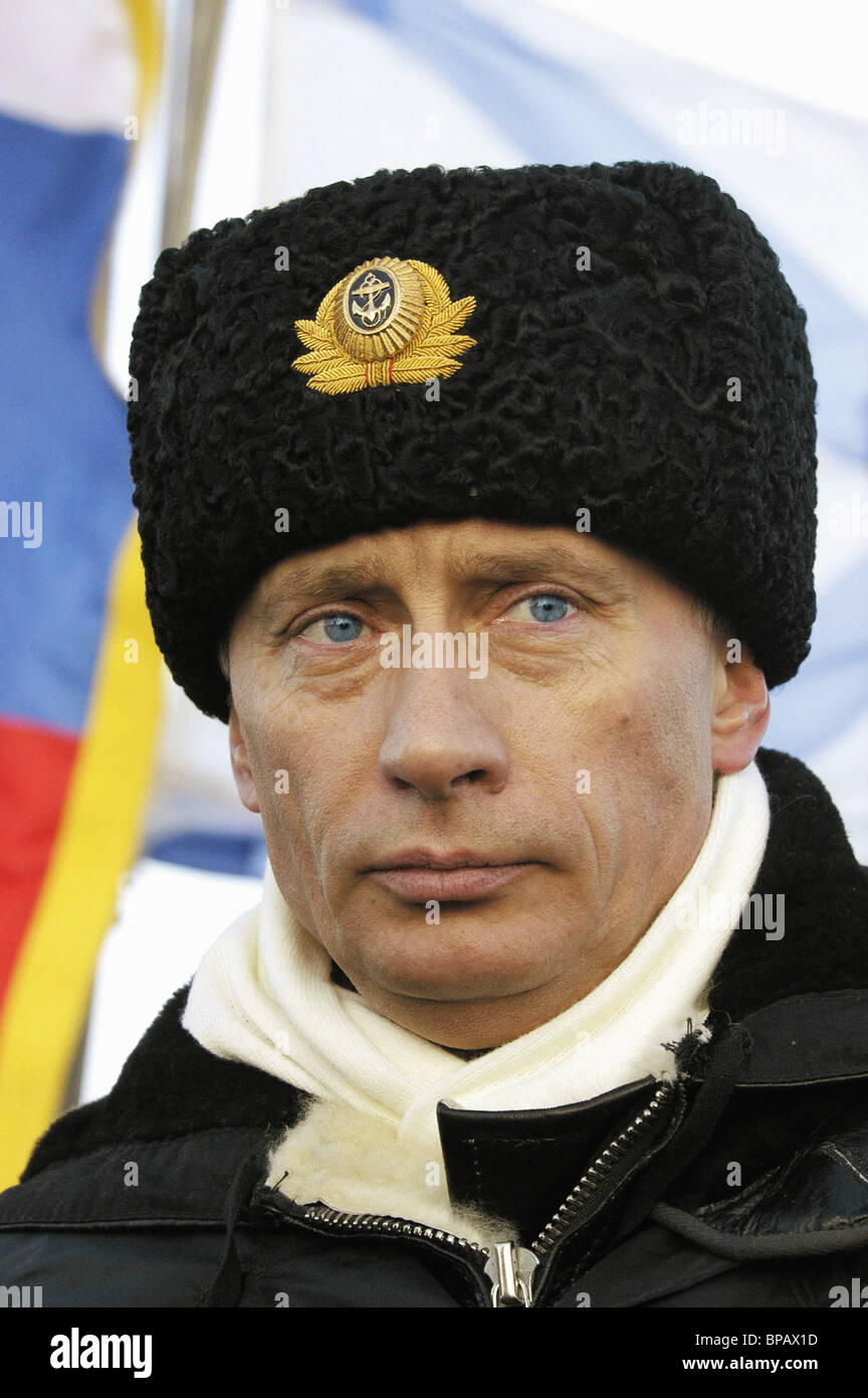 SEVEROMORSK, RUSSIA. February 17. President Vladimir Putin aboard the missile-carrying submarine Arkhangelsk in - Stock Image