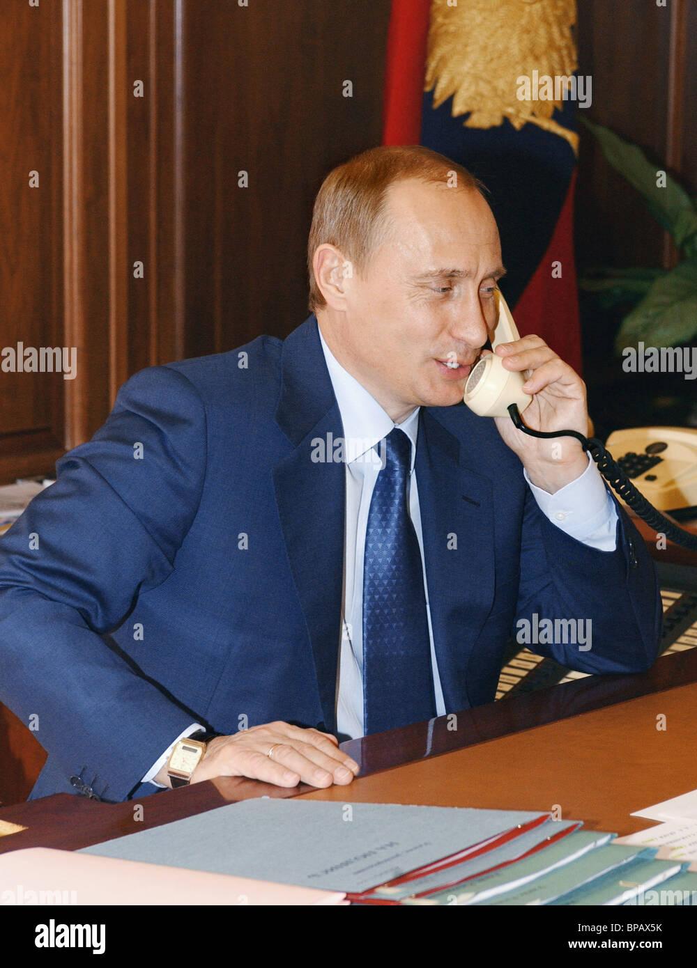 Vladimir Putin receives congratulations on his electoral victory - Stock Image
