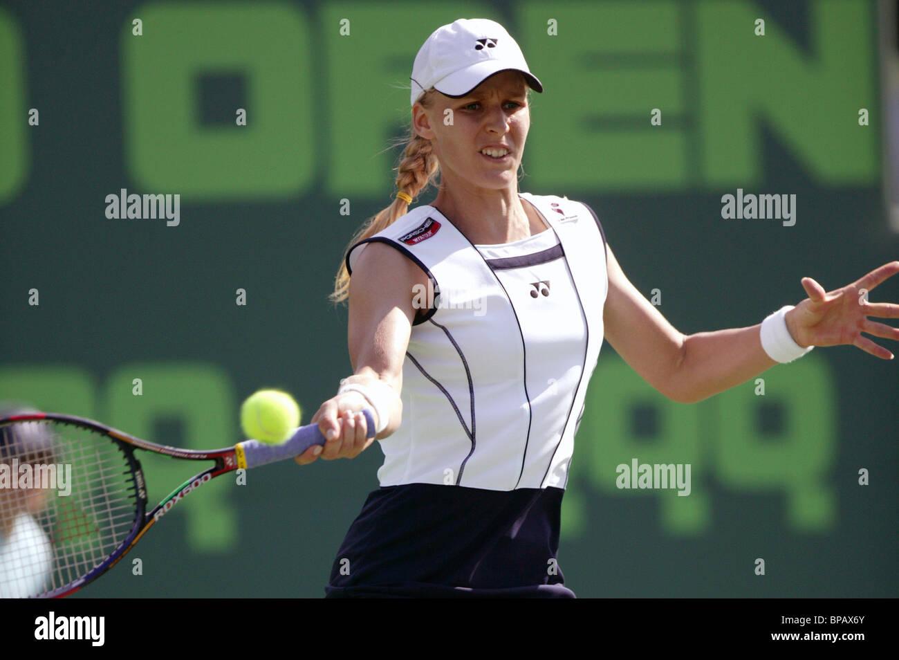 Yelena Dementyeva of Russia defeated Venus Williams of USA. - Stock Image