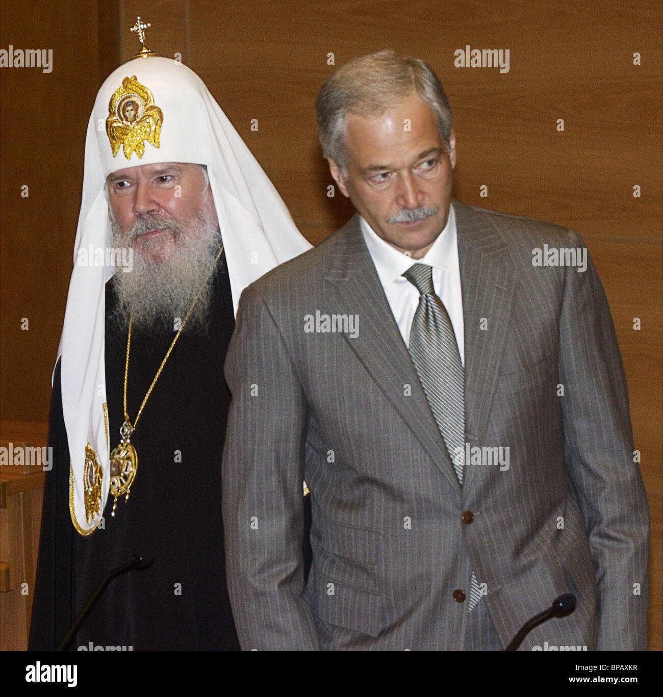 Russian Patriarch Alexy II blesses MPs - Stock Image