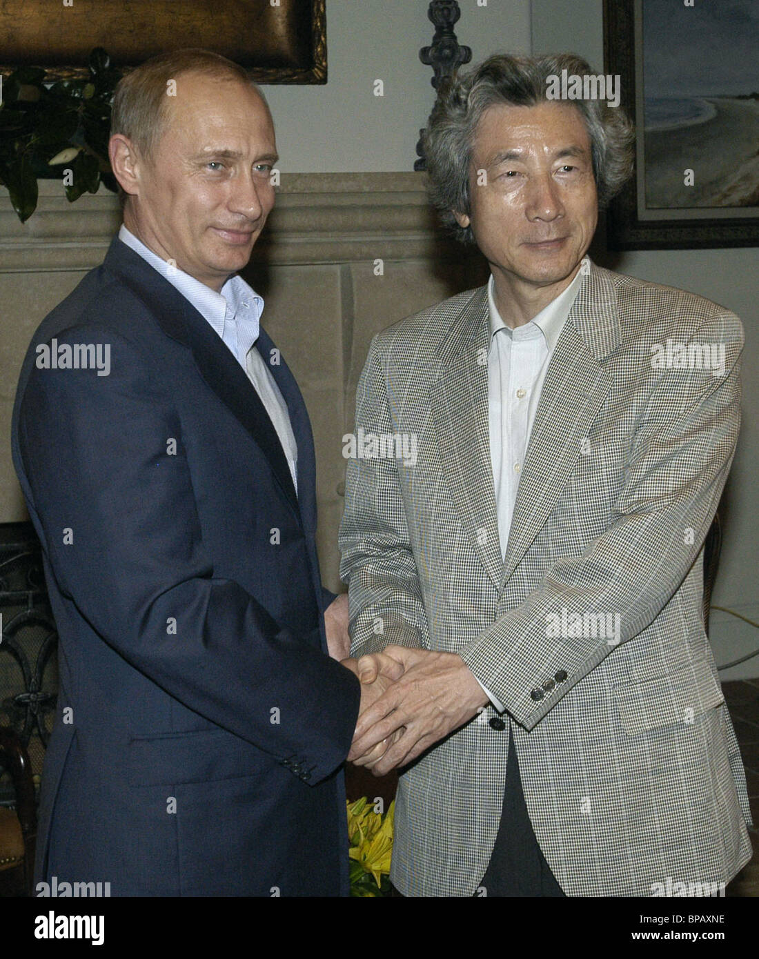 Russian president, Japanese PM hold bilateral meeting - Stock Image