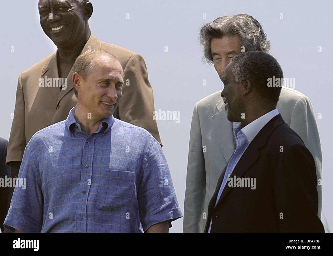 G8 summit participants take a group photo with African nation leaders - Stock Image