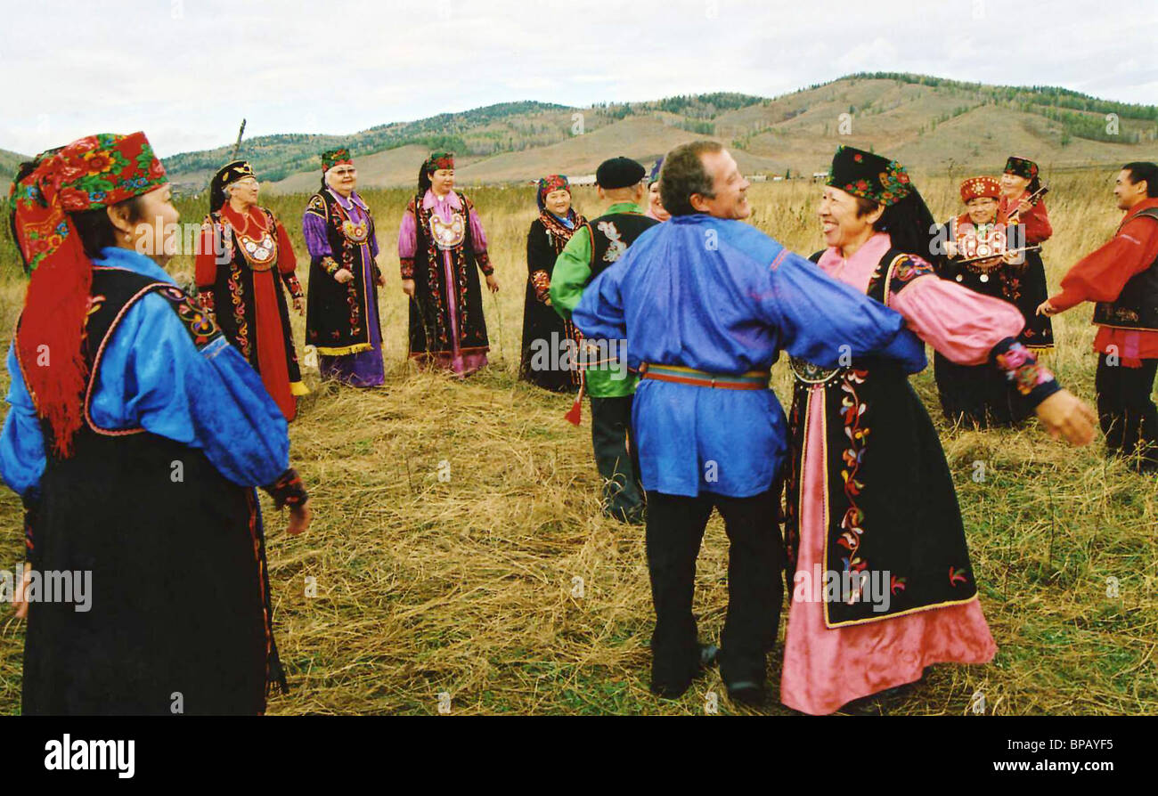 Celebrations on occasion of excavating unique archaeological find in Khakassia - Stock Image