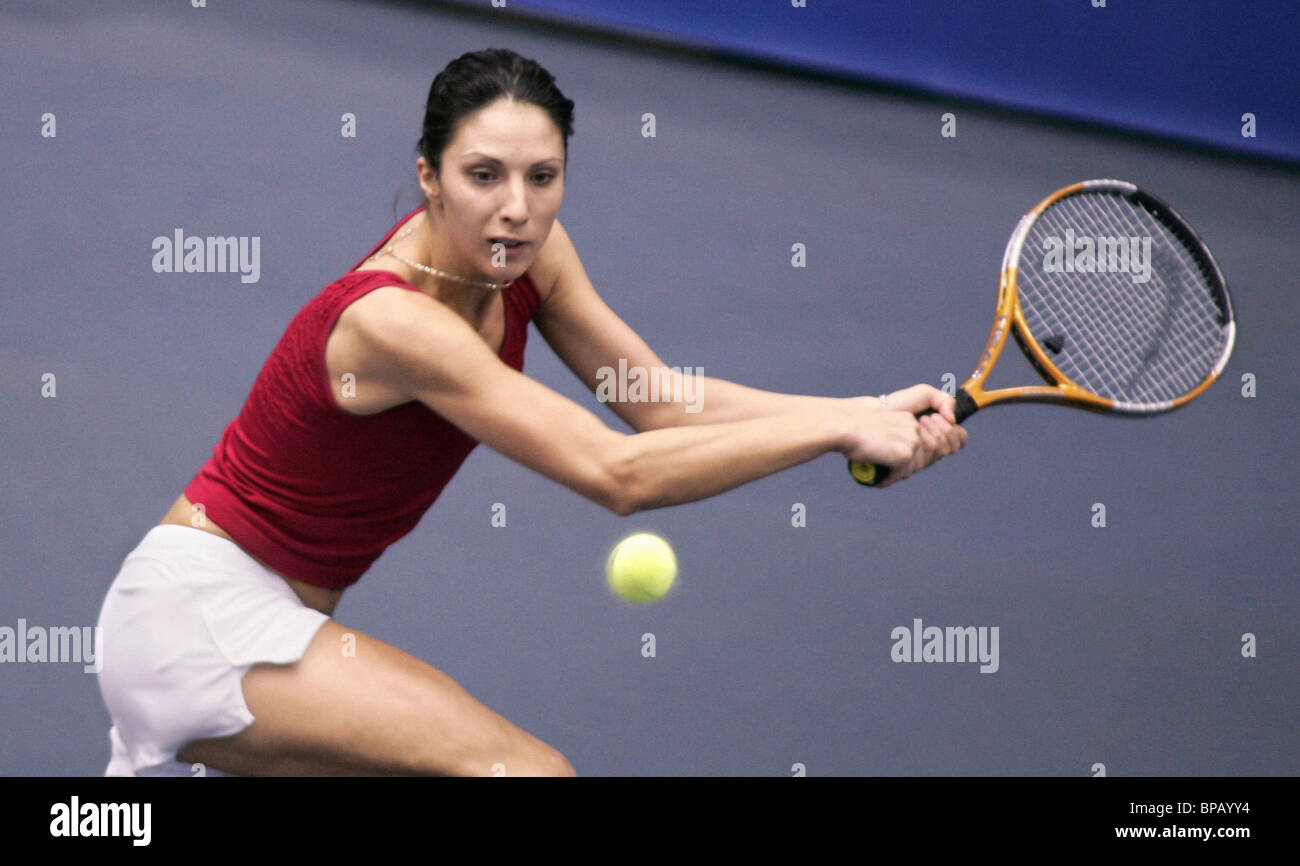 Myskina defeated Moisburger in the Tennis Federation Cup tournament - Stock Image