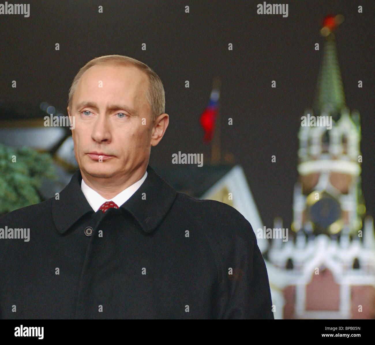 President Vladimir Putin's traditional televised New Year address - Stock Image