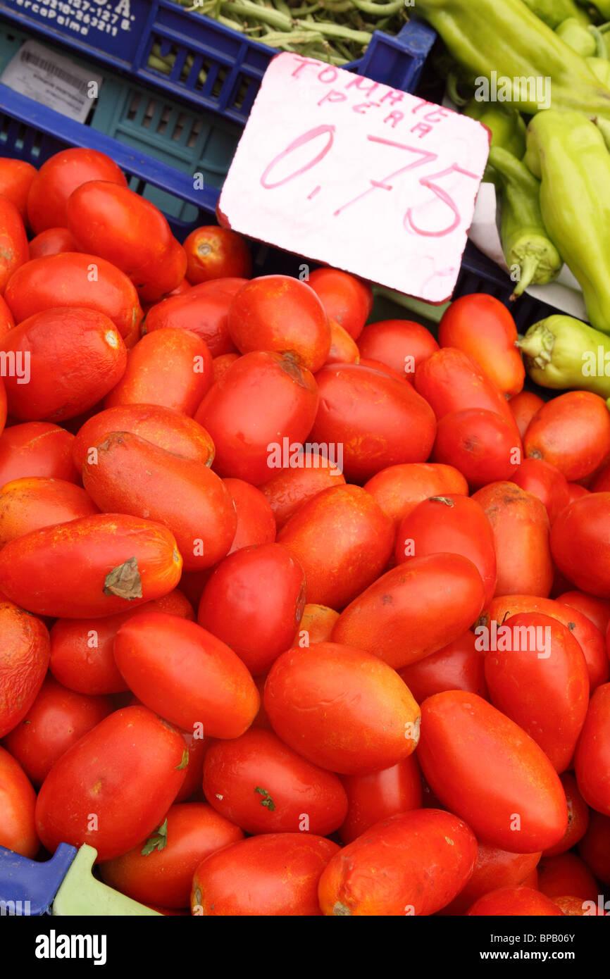 Pera Tomato tomatoes for sale in Santanyi Mallorca Majorca Spain - Stock Image