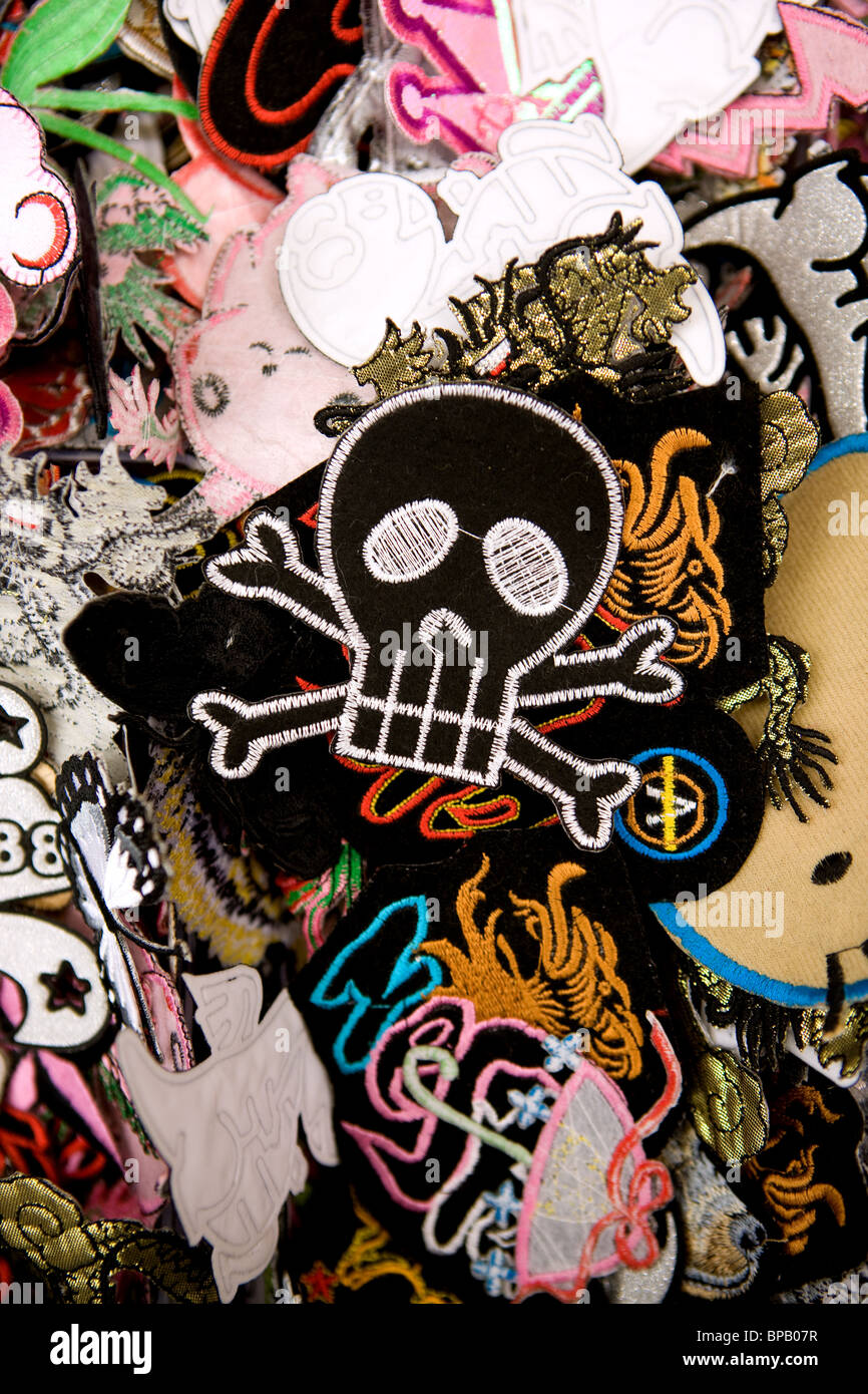 skull patches for clothing, colors written - Stock Image
