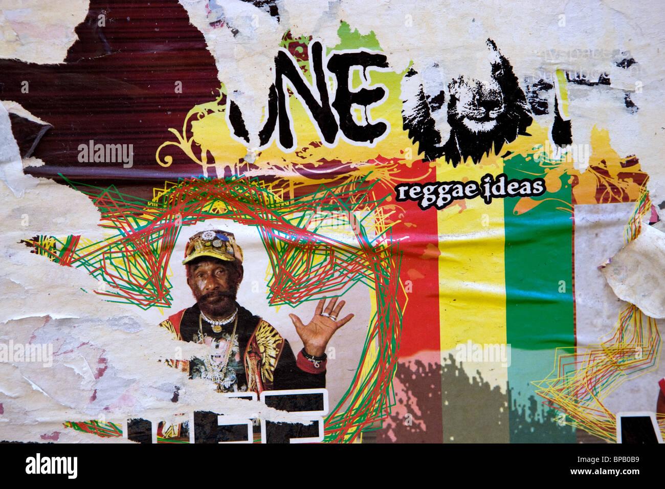 drawings on wall, mural, reggae, - Stock Image