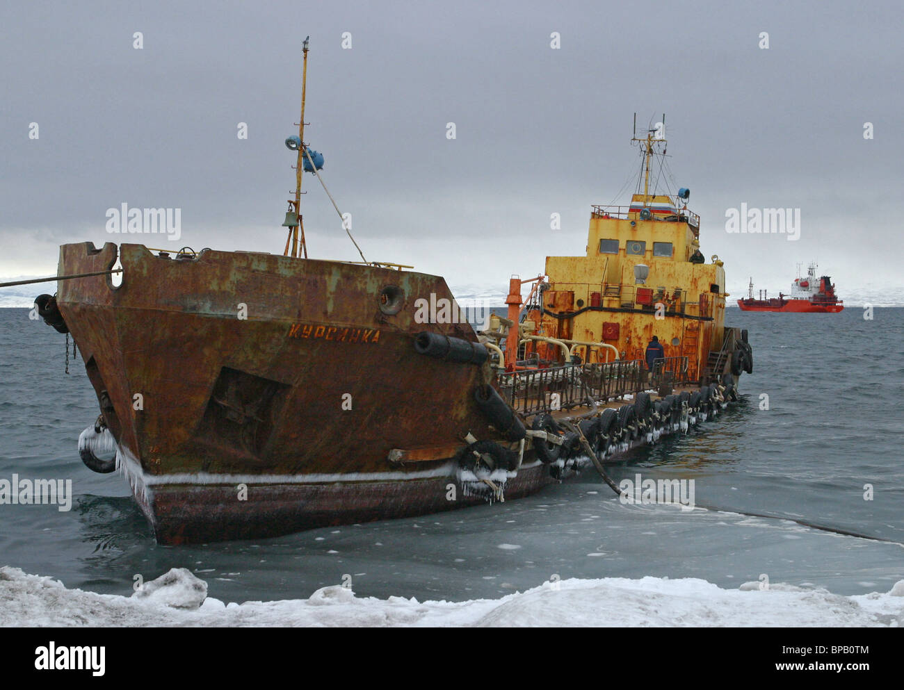 Fuel delivered to frozen communities of the Koryak National District - Stock Image