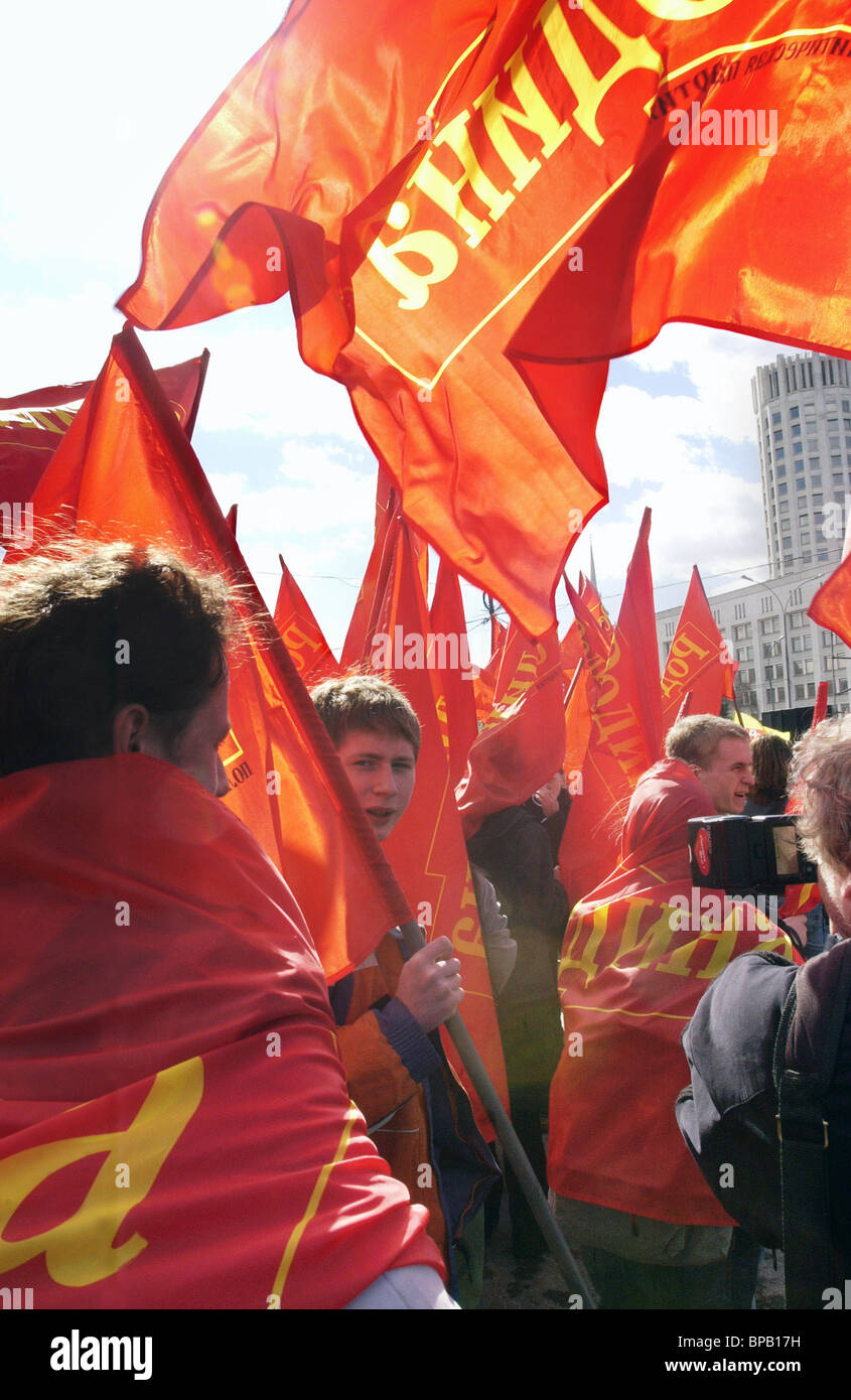 Students' trade unions stage rally outside House of Russian Government - Stock Image