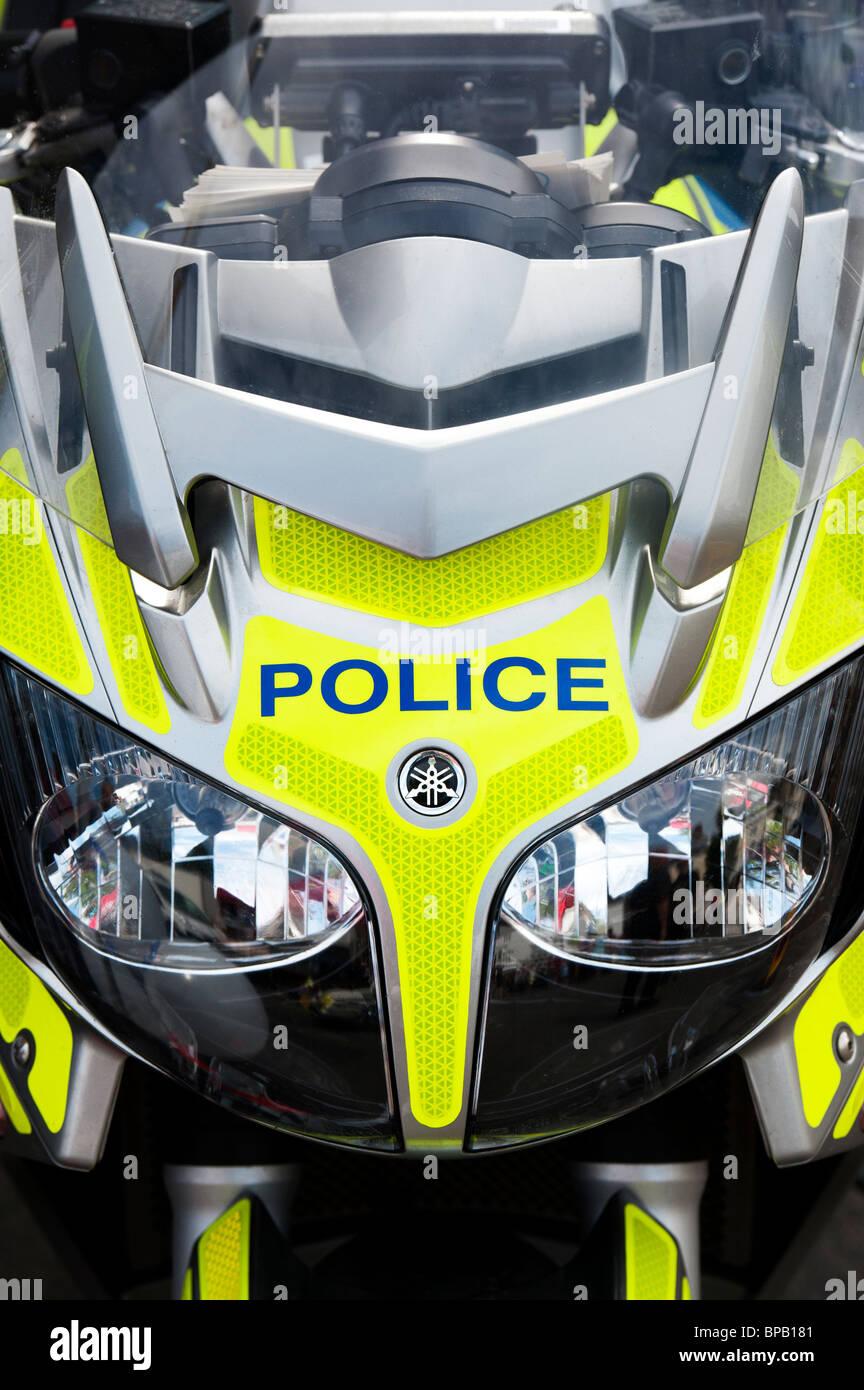 British Yamaha Police force motorcycle front end - Stock Image