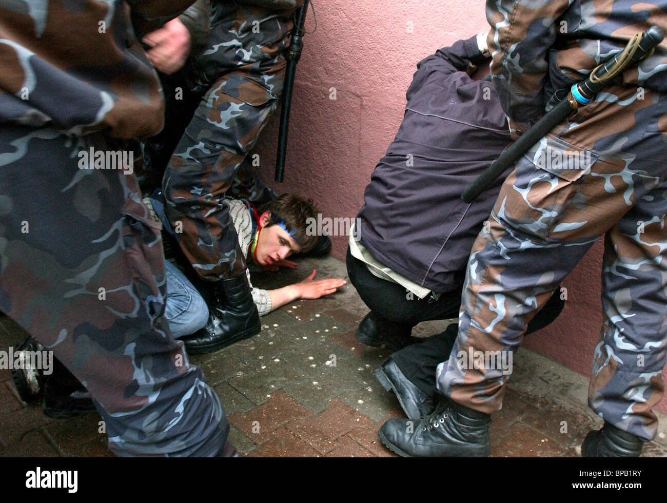 Police disperse Belarus Chernobyl rally, Russians among detained protesters - Stock Image