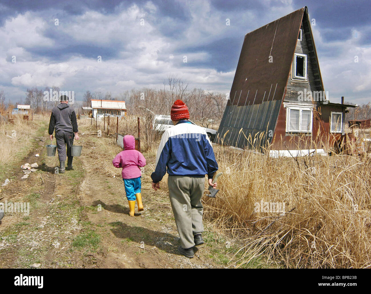 Russians spend May holidays at the country houses - Stock Image