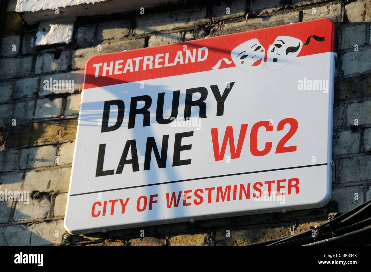 LONDON STREET SIGN FOR DRURY LANE IN THE WEST END THEATRELAND - Stock Image