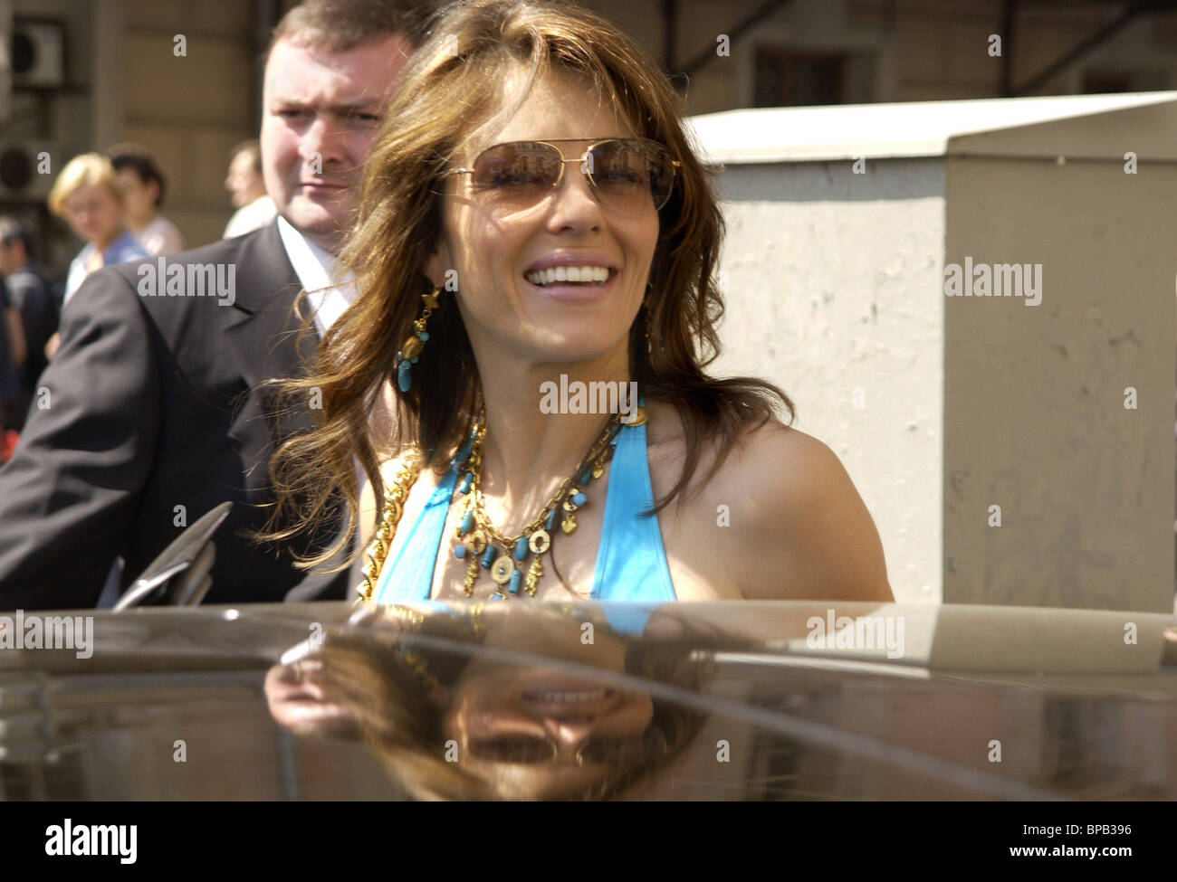 Elizabeth Hurley presents her bath suit exclusive collection in Moscow - Stock Image