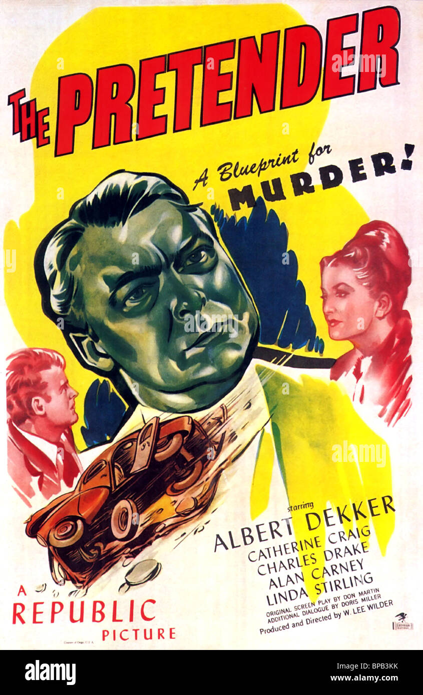 MOVIE POSTER THE PRETENDER (1947) - Stock Image
