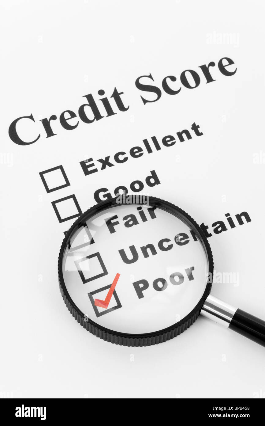 Poor Credit Score, Business Concept for Background - Stock Image