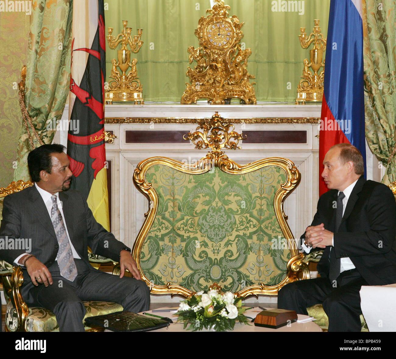 Russian President Vladimir Putin meets with Sultan of Brunei - Stock Image