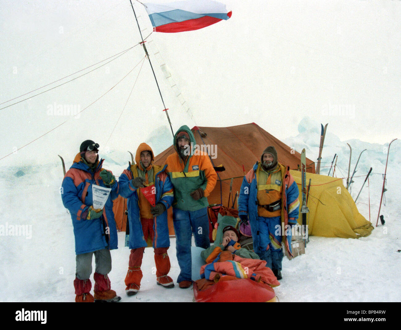 An international expedition started from the Arctic Cape, reached the North Pole - Stock Image