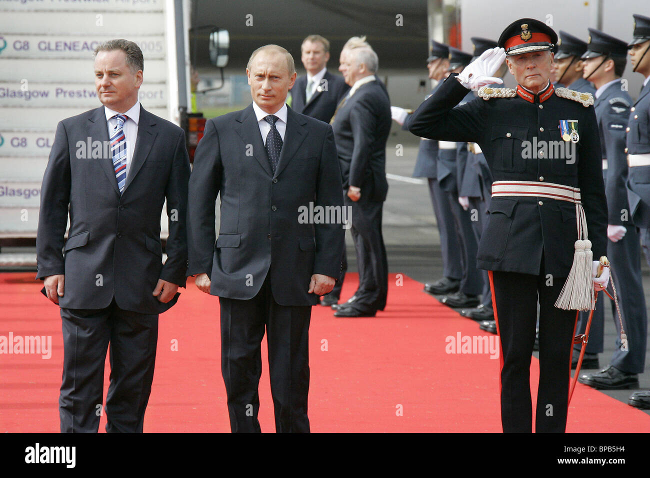 Russian President arrives in Scotland to participate in Group of Eight summit Stock Photo