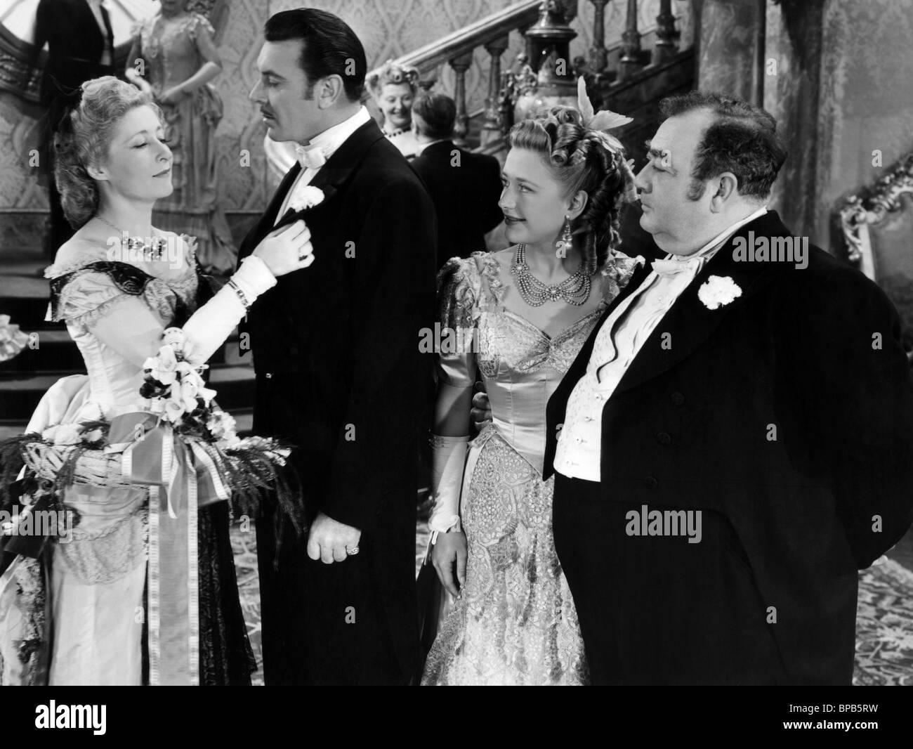 GEORGE BRENT, PRISCILLA LANE, EUGENE PALLETTE, SILVER QUEEN, 1942 - Stock Image