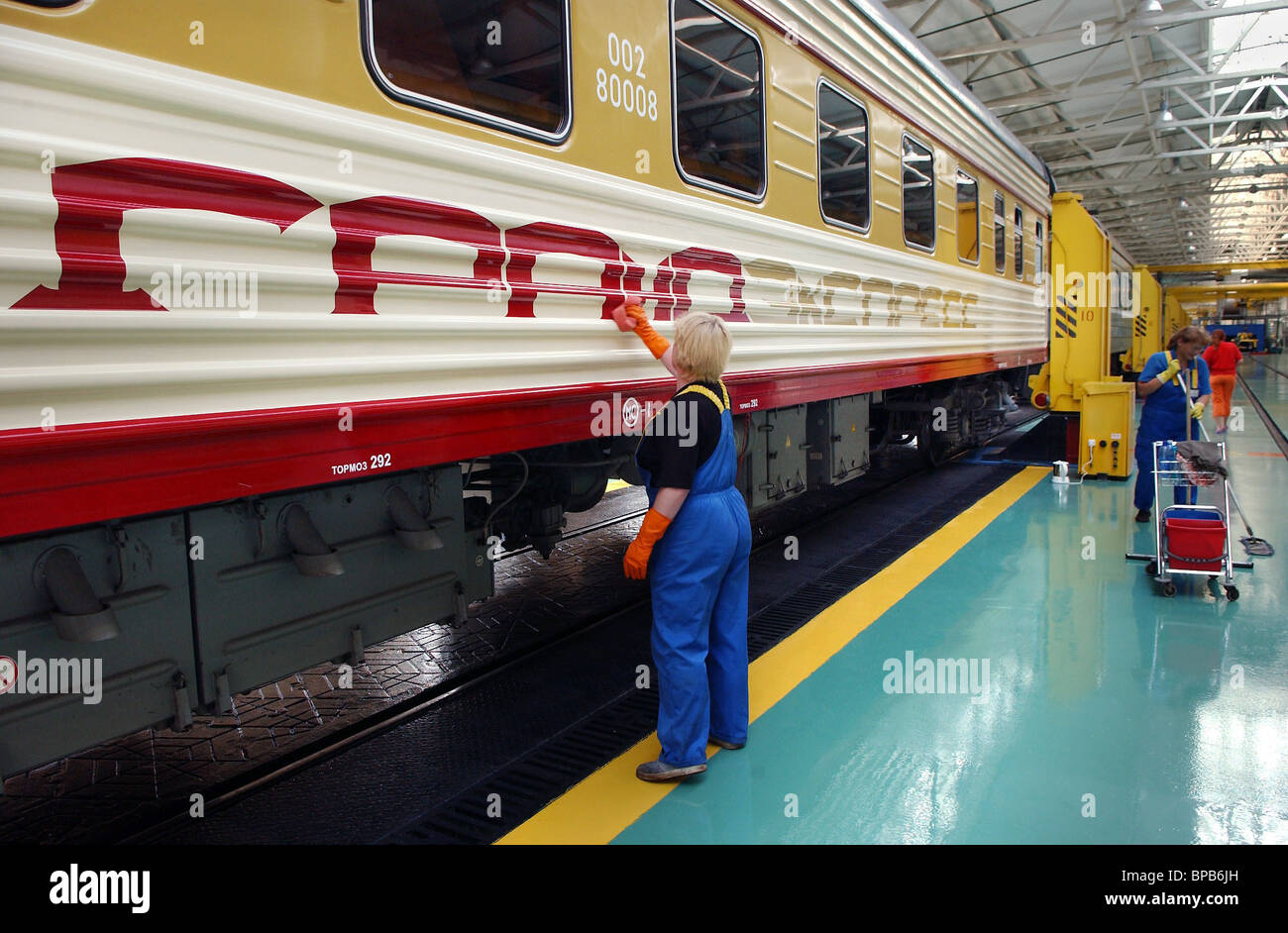 Grand, the first private train-hotel, departs for St Petersburg from Leningradsky railway station - Stock Image
