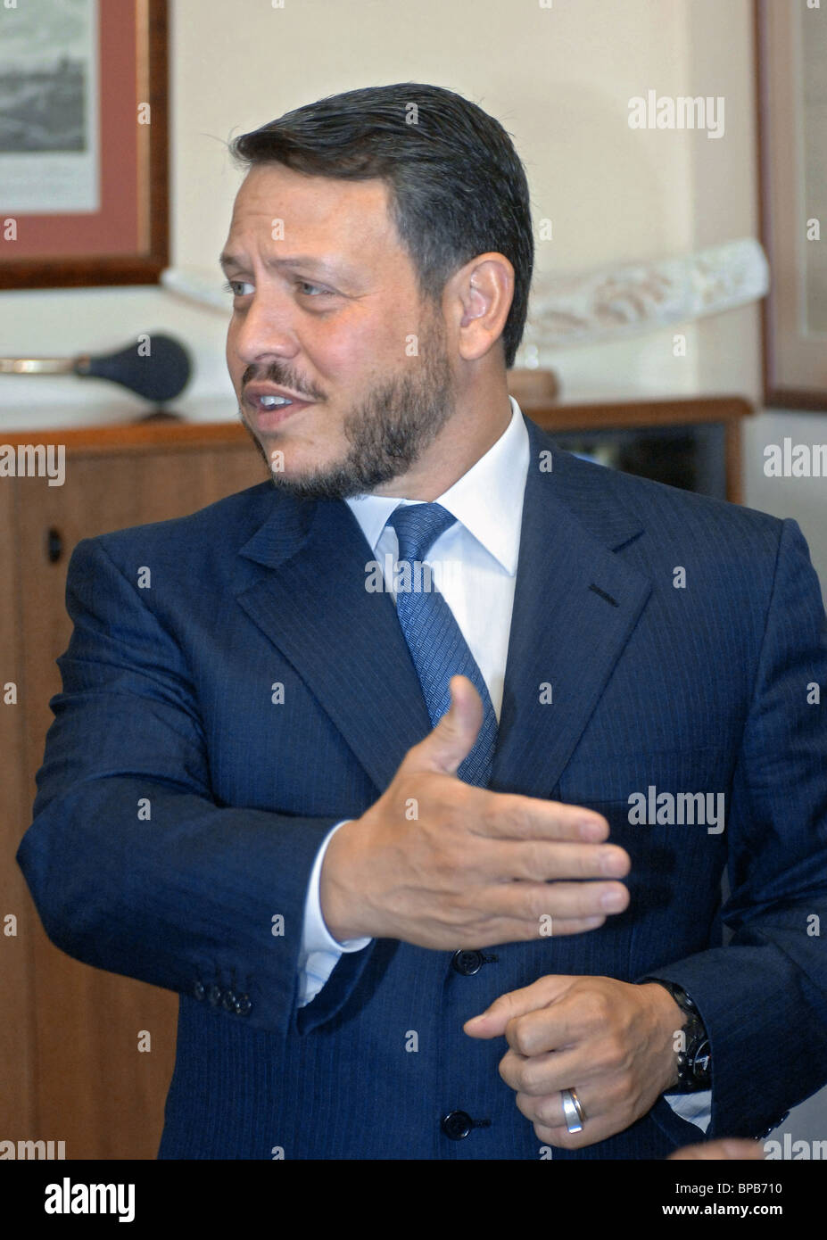 Jordan's King Abdullah II visits the ITAR-TASS Agency - Stock Image