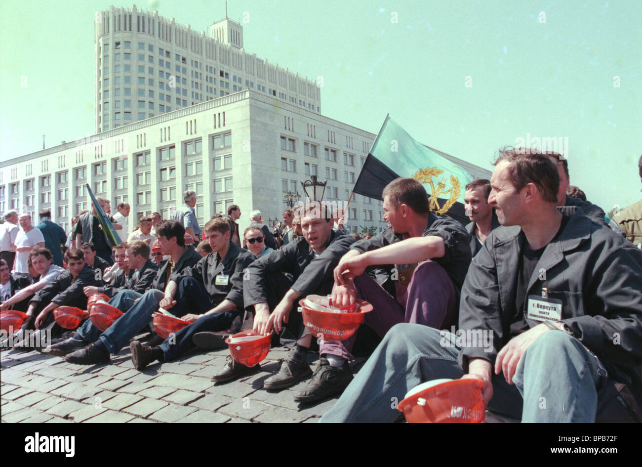 About 150 miners from northern Russian cities of Vorkuta & Inta who arrived in Moscow on Thursday began picketing Stock Photo