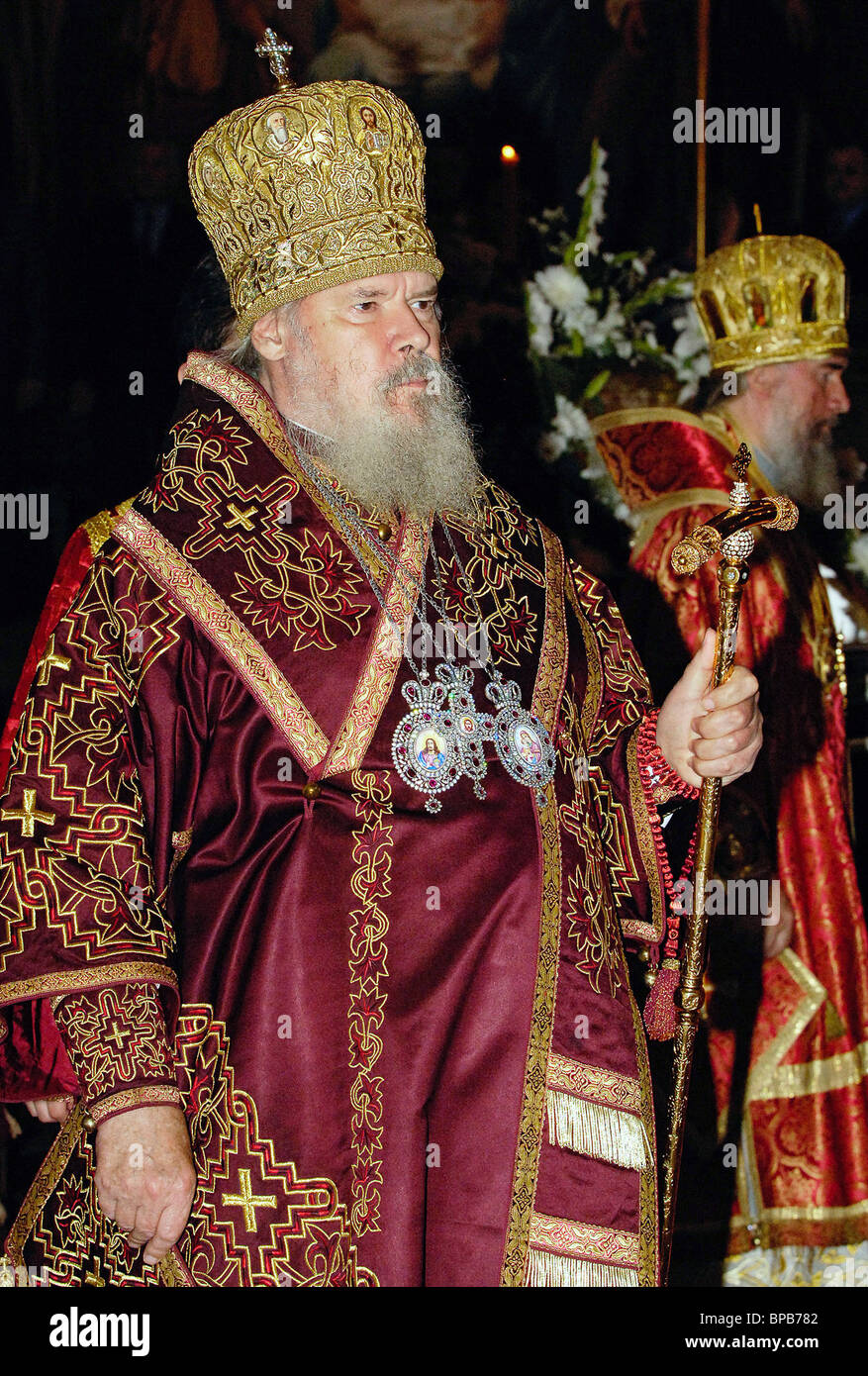 Relics of St. George are transferred from Greece to Moscow to mark the 60th anniversary of Victory Day - Stock Image