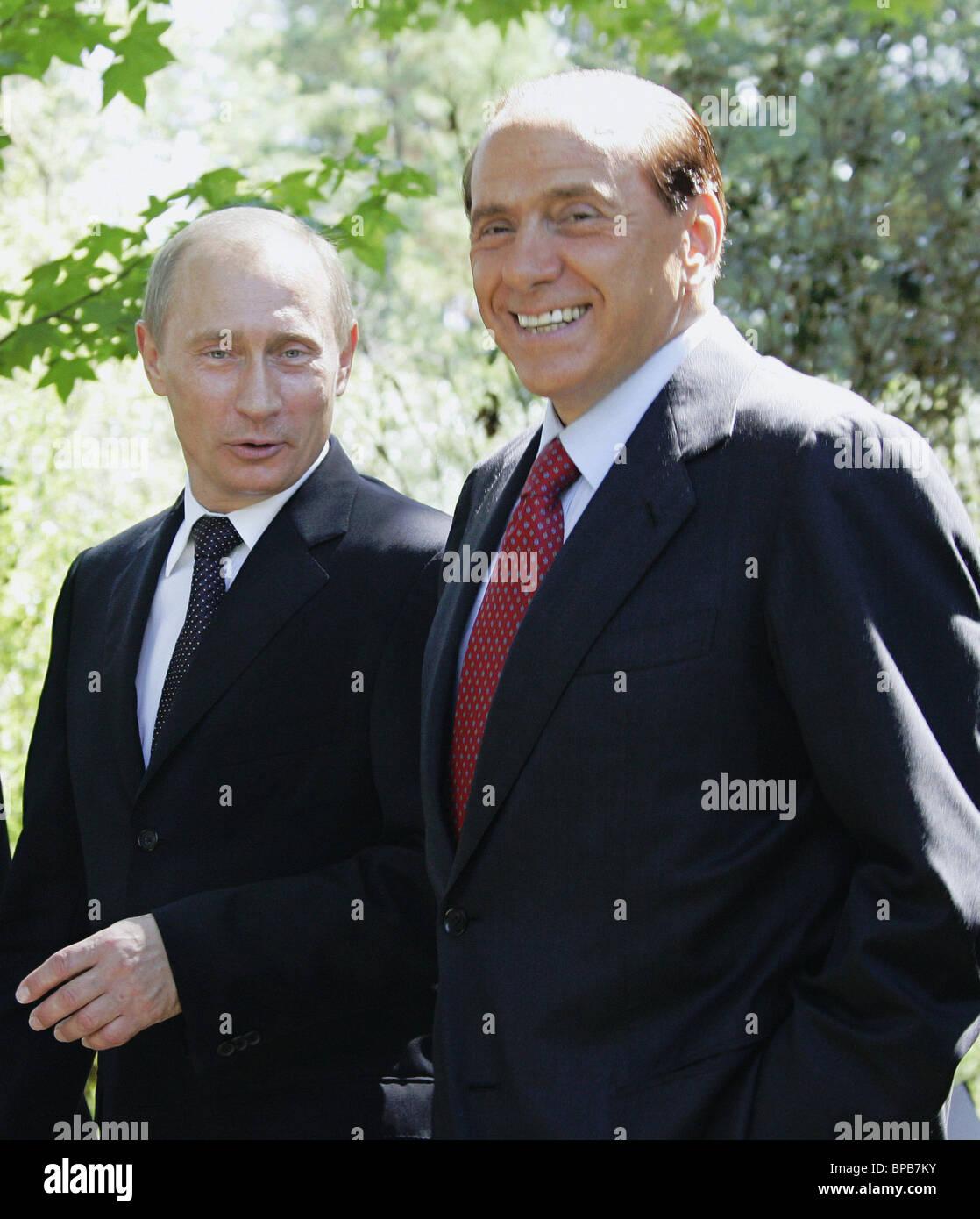 Russian President Vladimir Putin meets with Italian Prime Minister Silvio Berlusconi in Sochi - Stock Image