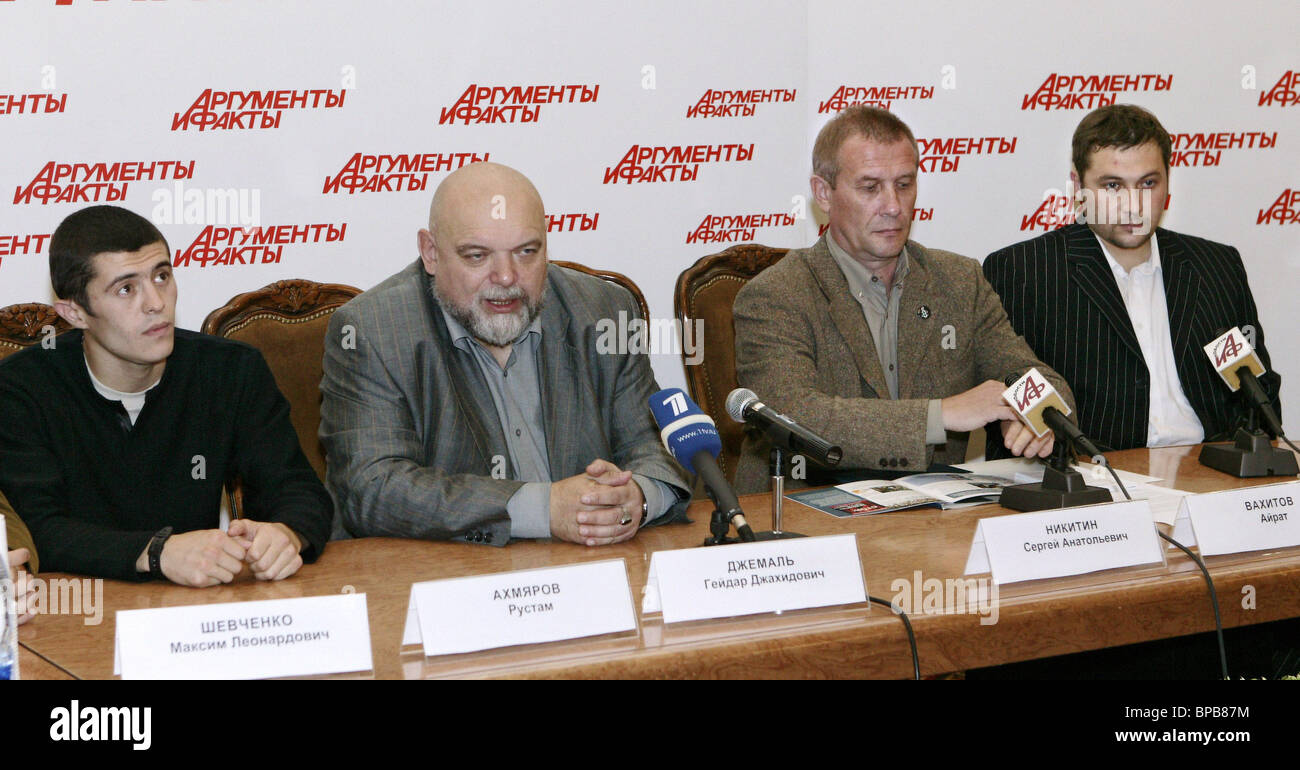 Ex-Gitmo detainees hold press conference in Moscow on their arrest by Tatarstan's police - Stock Image