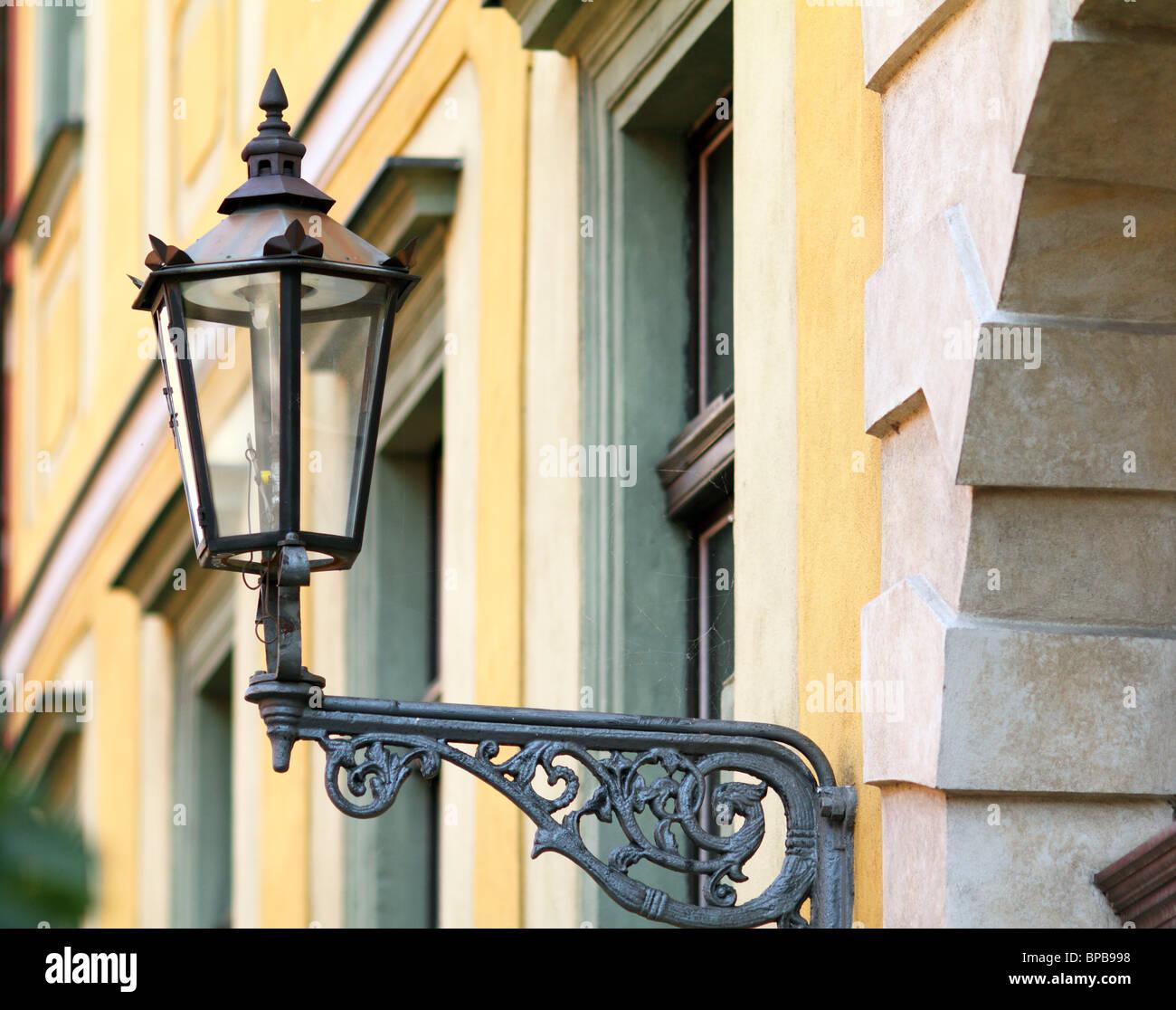 Old street lamp Ostrow Tumski Wroclaw Poland - Stock Image
