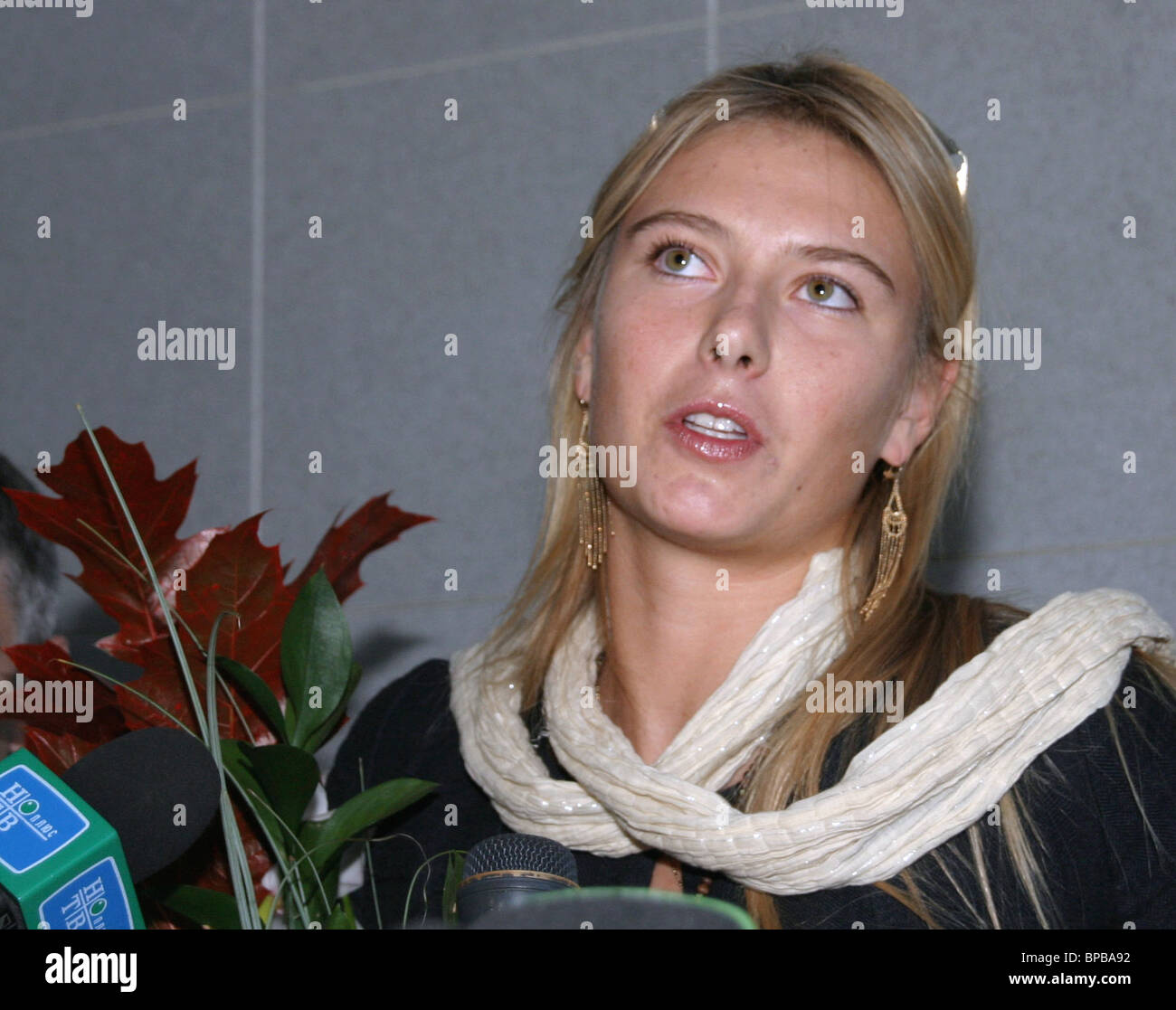 World's best tennis player Maria Sharapova arrives in Moscow to participate in Kremlin Cup 2005 - Stock Image